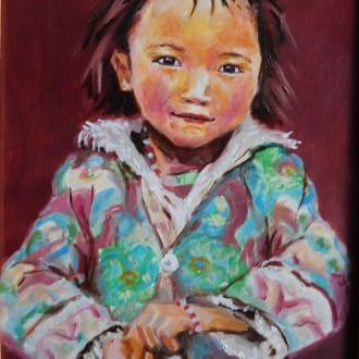 Tibetaans meisje. Olieverf op masoniet. 18x24 cm. Februari 2005