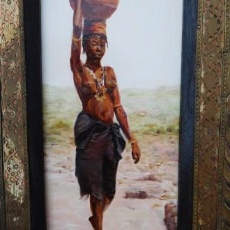 Vrouw met waterkan. Olieverf op masoniet. 12x25 cm. Oktober 2000